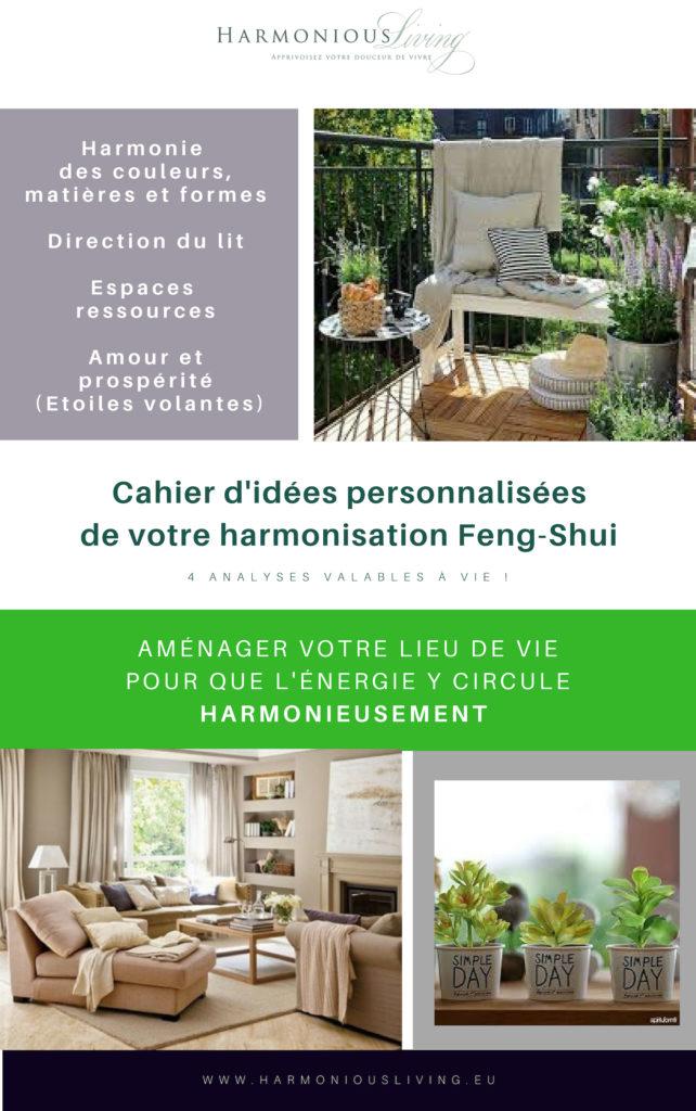 Cahier d'idées pour votre harmonisation Feng-Shui